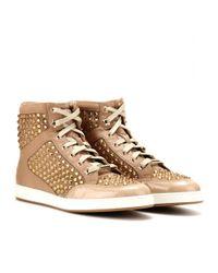 Jimmy Choo Metallic Tokyo Embellished Leather High-top Sneakers
