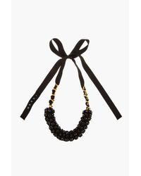 Marni - Black Beaded Ribbon_tied Necklace - Lyst