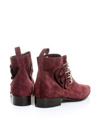 Tabitha Simmons   Red Early Threebuckle Suede Ankle Boots   Lyst