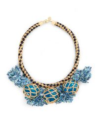 Tory Burch | Blue Crochet Bead and Tassel Necklace | Lyst
