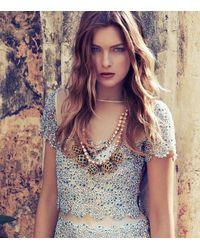 Tory Burch Blue Crochet Bead and Raffia Crystal Necklace