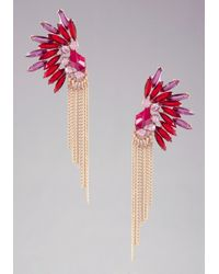 Bebe - Red Abstract Stone Fringe Earrings - Lyst