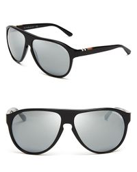 68eb2bd288f Lyst - Burberry Top Temple Check Aviator Sunglasses in Black for Men