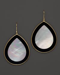 Ippolita Multicolor 18K Gold Polished Rock Candy Jumbo Teardrop Earrings In Mother-Of-Pearl And Black Onyx