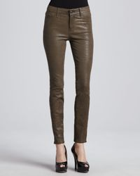 J Brand | Brown Leather Skinny Pants in Iron | Lyst