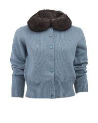 Marc Jacobs Blue Long Sleeve Fur Collar Cardigan
