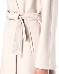 Max Mara Studio White Studio Belted Wool Wrap Coat