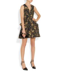 McQ Multicolor Butterfly Camouflage Printed Cottonblend Twill Dress