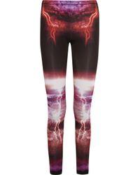McQ Multicolor Lightning-Print Stretch Leggings