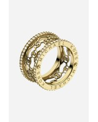 MICHAEL Michael Kors | Metallic Michael Kors Monogram Logo Cigar Band Ring | Lyst