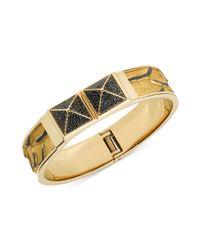 Michael Kors - Metallic Gold Tone Python Leather Jet Pave Pyramid Stud Bangle Bracelet - Lyst