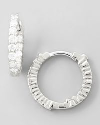 Roberto Coin 16mm White Gold Diamond Huggie Hoop Earrings 76ct