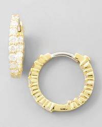 Roberto Coin 16Mm Yellow Gold Diamond Huggie Hoop Earrings