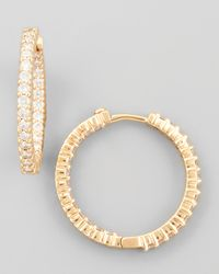 Roberto Coin - Pink 25mm Rose Gold Diamond Huggie Hoop Earrings 153ct - Lyst