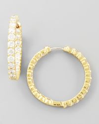 Roberto Coin | Metallic 35mm Yellow Gold Diamond Hoop Earrings | Lyst