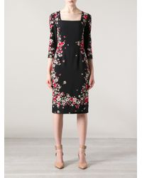 Dolce & Gabbana | Black Lace-trimmed Silk-blend Dress | Lyst