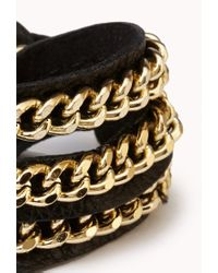 Forever 21 - Black Chained Faux Leather Wrap Bracelet - Lyst