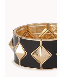 Forever 21 - Black Pyramid Studded Stretchy Bracelet - Lyst