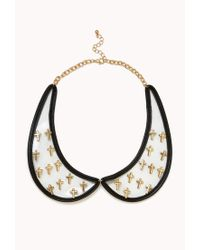 Forever 21 | Metallic Clear Cross Collar Necklace | Lyst