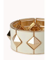 Forever 21 - Metallic Pyramid Studded Stretchy Bracelet - Lyst
