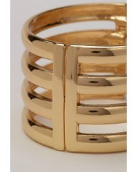 Forever 21 - Metallic Cutout Striped Hinge Cuff - Lyst