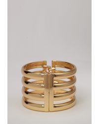 Forever 21 | Metallic Cutout Striped Hinge Cuff | Lyst