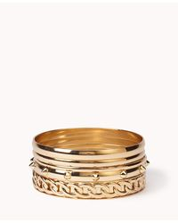 Forever 21 | Metallic Spike & Chain Bangle Set | Lyst