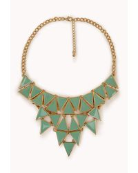 Forever 21 - Green Geo Bib Necklace - Lyst