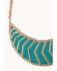 Forever 21 - Blue Chevron Bib Necklace - Lyst