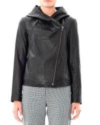 Helmut Lang - Black Hooded Leather Jacket for Men - Lyst