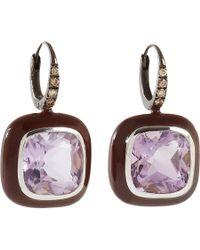 Sidney Garber - Purple Brown Diamond Amethyst Drop Earrings - Lyst