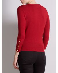 Somerset by Alice Temperley Red Button Detail Cardigan