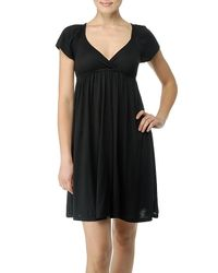 Splendid | Black Short Sleeve Jersey Dress with Empire Waist | Lyst
