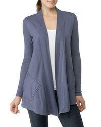 Splendid | Blue Fleece Long Sleeve Wrap Cardigan | Lyst