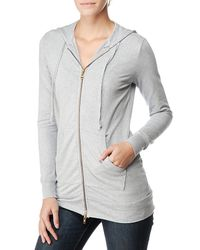 Splendid   Gray French Terry Long Zippered Hoodie   Lyst