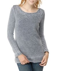 Splendid | Blue Distressed Fleece Long Sleeve Top | Lyst