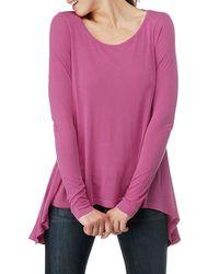 Splendid   Pink Vintage Whisper Long Sleeve Top with Uneven Hem   Lyst
