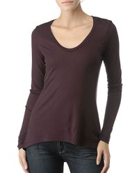 Splendid | Red Light Jersey V-Neck Top with Uneven Hem | Lyst