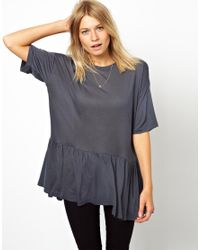 ASOS Gray T-Shirt in Oversize with Peplum