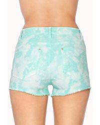 Forever 21 - Blue Bleached Denim Shorts - Lyst