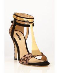 Forever 21 Brown Metal Tstrap Leopard Print Sandals