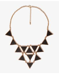 Forever 21 Black Faux Leather Triangle Charm Necklace