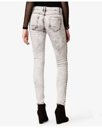 Forever 21 Gray Studded Mineral Wash Skinny Jeans