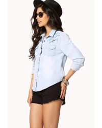 Forever 21 - Blue Embroidered Western Denim Shirt - Lyst