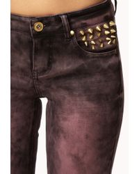 Forever 21 Purple Spiked Acid Wash Skinny Jeans
