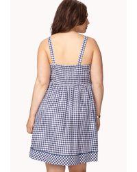 Forever 21 Blue Retro Gingham Dress