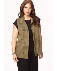 Forever 21 Green Plus Size Stud Queen Safari Vest