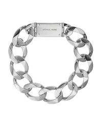 Michael Kors Metallic Oversized Curb Chain Logo Plate Collar Necklace 18