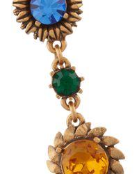 Oscar de la Renta - Red Gold-plated Crystal Clip Earrings - Lyst