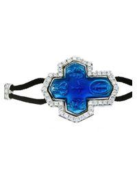 Pippo Perez Blue Diamond Cross Bracelet
